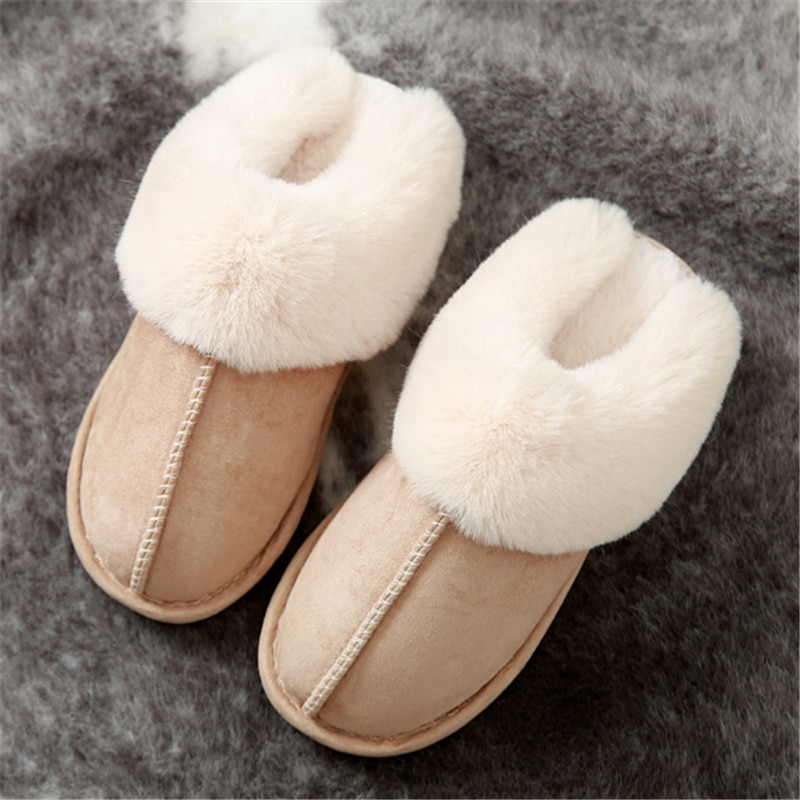 JIANBUDAN Plush warm Home flat slippers Lightweight soft comfortable winter slippers Women's cotton shoes Indoor plush slippers