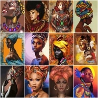 huacan paint by numbers african woman oil painting wall art gift diy pictures by number figure kits home decor