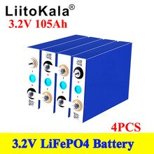 4pcs LiitoKala GRADE A NEW 3.2V 100Ah 105Ah lifepo4 battery CELL 12V 24V for EV RV battery pack diy solar EU US TAX FREE