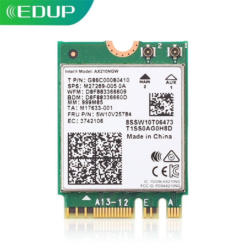 EDUP 3000Mbps Intel AX210 WiFi 6E Card PCIE Bluetooth 5.2 Dual Band 2.4G/5GHz Wireless Network Adapter Wi-Fi Receiver For Laptop