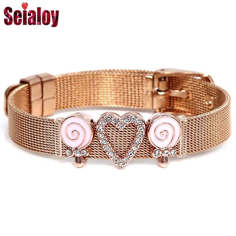Rosa ouro de aço inoxidável malha strass amor rosa lollipop charme relógio cinto pulseira para mulheres casal amante pulseira