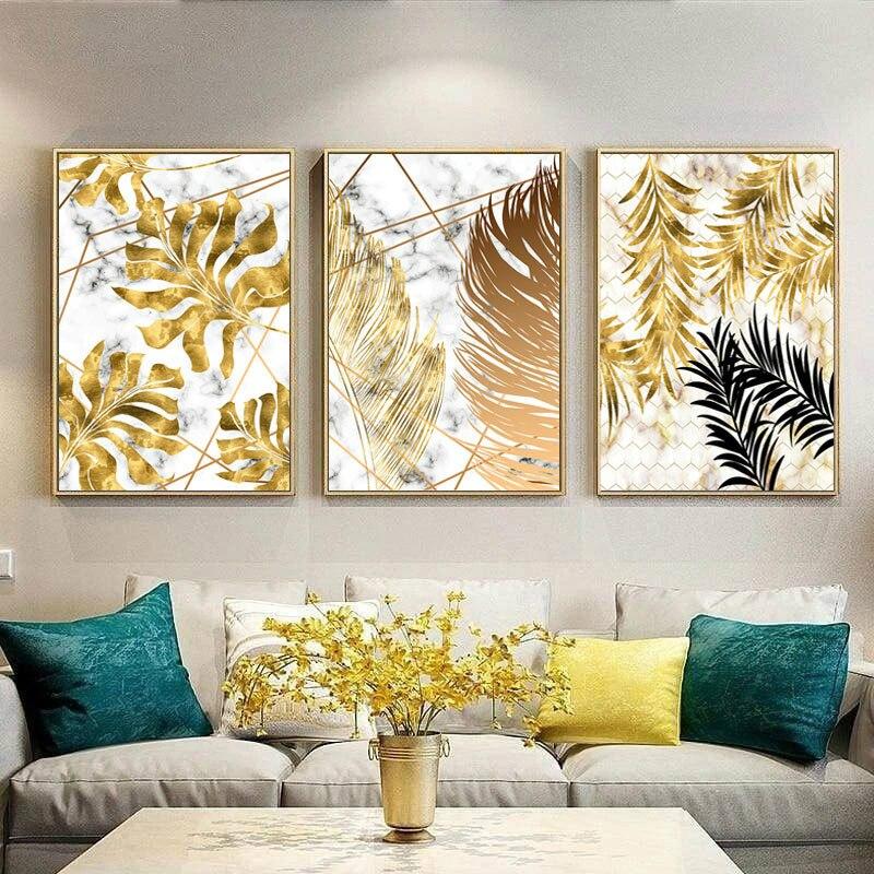 Pósteres botánicos de pintura en lienzo de hojas doradas de plantas nórdicas e imágenes artísticas abstractas de pared para la decoración moderna de la sala de estar