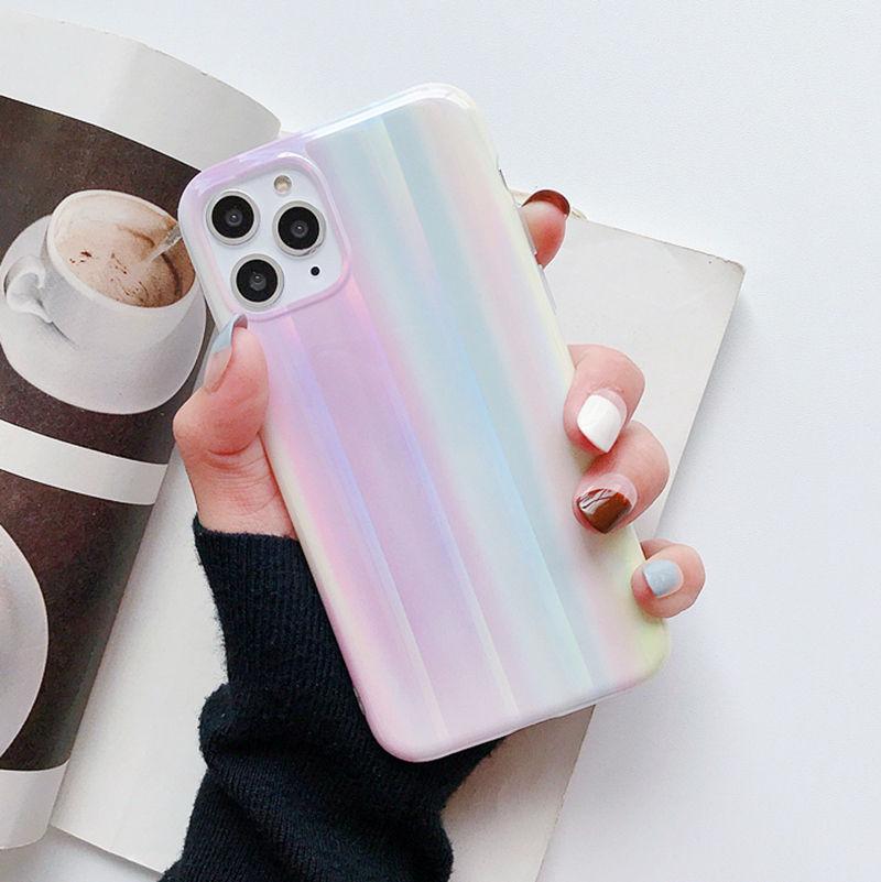 Funda de mármol con degradado de láser arcoíris para iPhone X XR XS Max, funda de TPU suave para iphone 6s 7 8 plus, carcasa trasera brillante para teléfono
