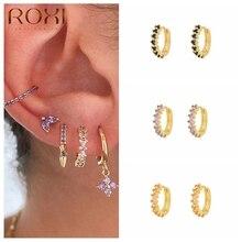 ROXI-boucles doreilles rondes pour femmes, violet, noir, Orange, cristaux de Zircon, fiançailles, mariage argent 925