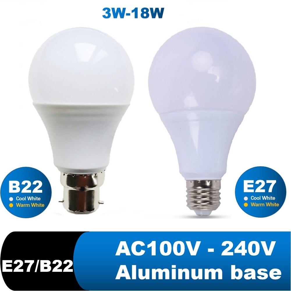 LED Bulb Lamps E27 B22 led lamp Lampe  Bedroom Reading Downlight 3W 6W 9W 12W 15W 18W 110V 220V Cold White Warm