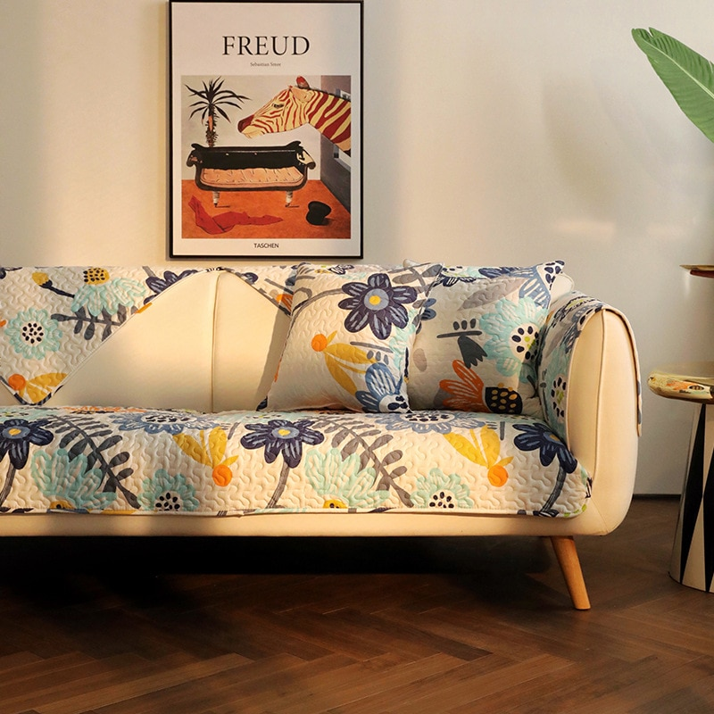 Funda para sofá de algodón moderna de dibujos animados con diseño de girasol, funda antideslizante para sofá y toalla, fundas para sillas, alfombrillas decorativas para sala de estar/sala de estar con forma de L