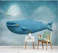 custom wallpaper mural 3d 8d wall covering hand painted romantic fairy tale whale childrens room interior decoration painting