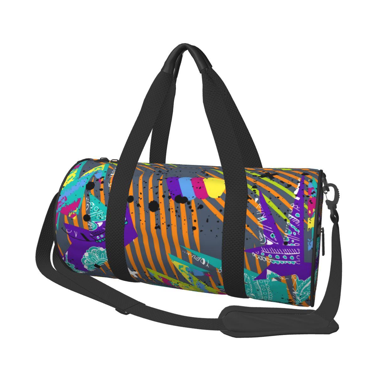 Travel Bag Large Capacity Luggage Duffle Bag Dots Geometric Figures Stripes Leisure Handbag Shoulder
