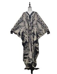 Abaya Dubai Black Sexy V-Neck Bohemian Summer Beach Silk Lady Maxi Dress Traditional Prayer Holiday Printed Kaftan Dresses