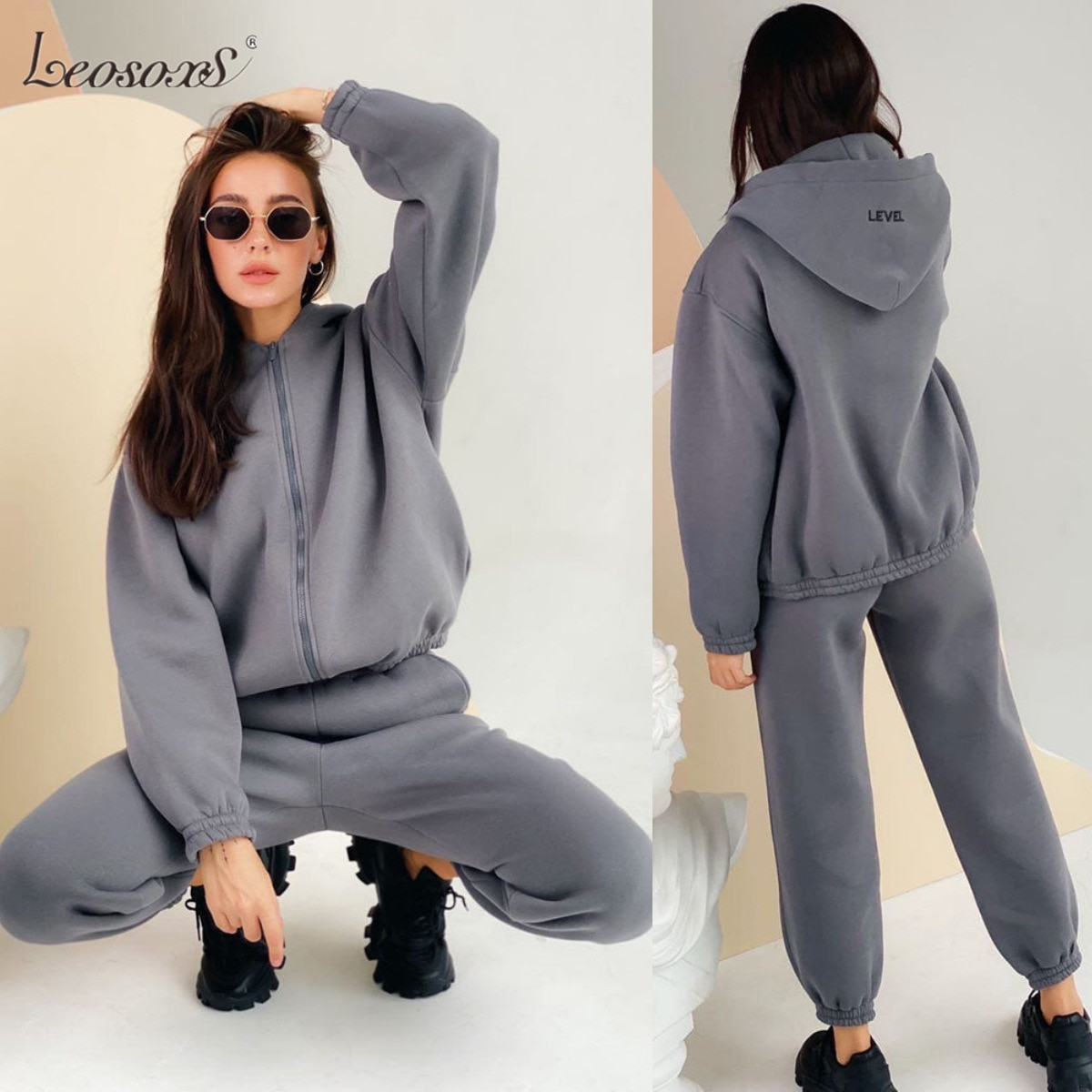 Casual Tracksuit Women Two Piece Set 2021 New Solid Long Sleeve Zipped Sweatshirt Tops Sweatpant Suit Outfit Matching