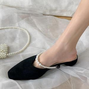 Slippers For Women 2021 Spring Vintage Square Heel Pearl Sandals String Bead Elegant Women's Shoes Shallow Black Slides Sandal