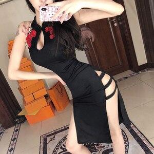 Asian Dress Chinese Style Black High Collar Split Dress Vestido Cheongsam Qipao Sexy Oriental Dress