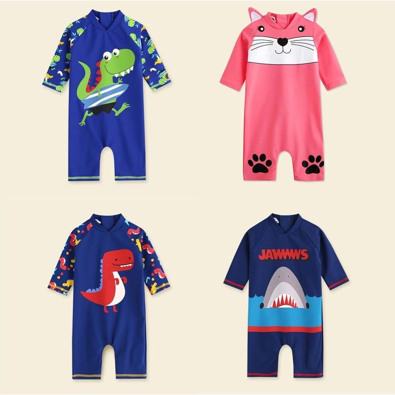 Купальный костюм для маленьких мальчиков; детская пляжная одежда; Цельный Детский купальник с длинными рукавами; Новинка 2020 года; Летний Пл...