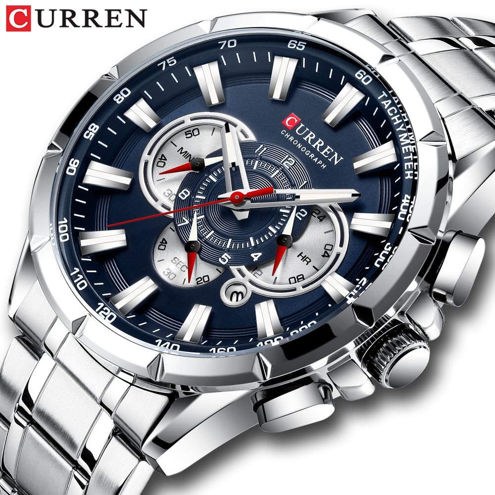CURREN New Causal Sport Chronograph Men's Watches Stainless Steel Band Wristwatch Big Dial Quartz Cl