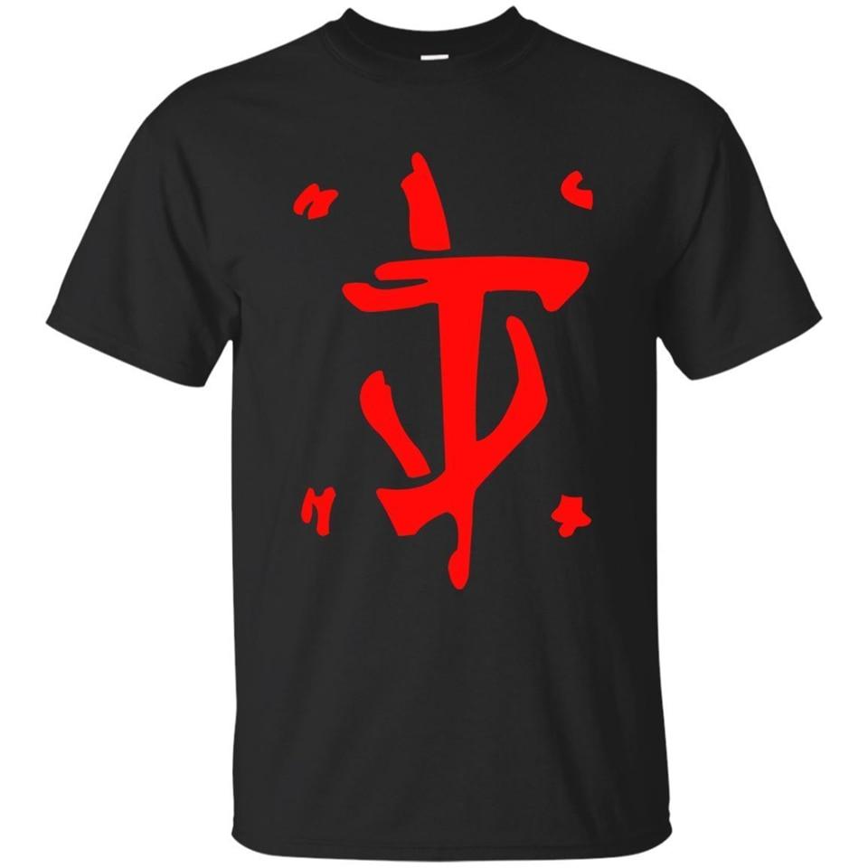 Camiseta roja de Mark Of The Doom Slayer, ropa para hombre, camiseta negra de la Marina, S-3Xl, Camiseta holgada Unisex