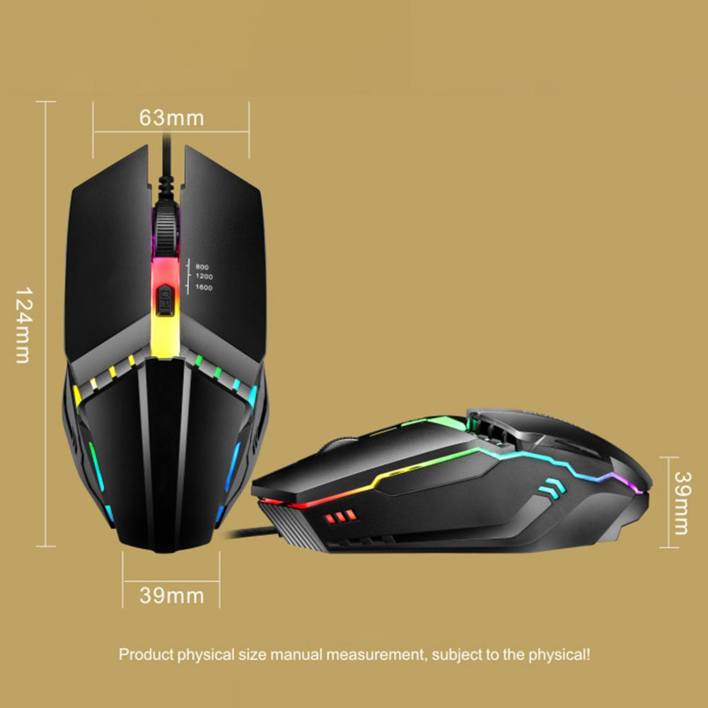 RGB Backlight Gaming Mouse 4 Buttons Mechanical Programming 1600 DPI Optical USB Wired Mouse for Laptop Desktop