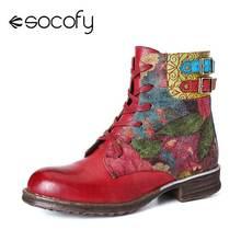 SOCOFY Botas Mujer bottes femmes aquarelle Rose en cuir véritable fermeture éclair à lacets bottes plates dames chaussures femmes hiver 2020