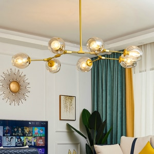 Nordic LED Glass Ball Chandelier Golden Black Living Dining Room Bedroom Hanging Home Interior Decoration Lighting Gloss Lamps