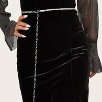 fashion simple chain ladies dress decorated with silver diamond high waist metal waist chain