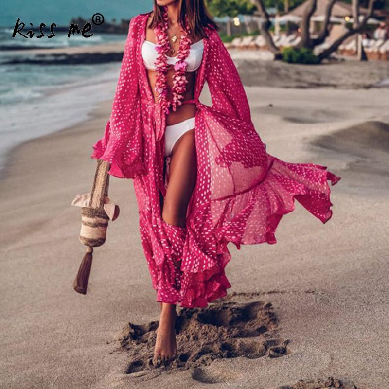 De playa suelto punto impreso verano de las mujeres traje de baño Bikini encubrir fucsia playa traje de baño traje de túnica de tamaño libre