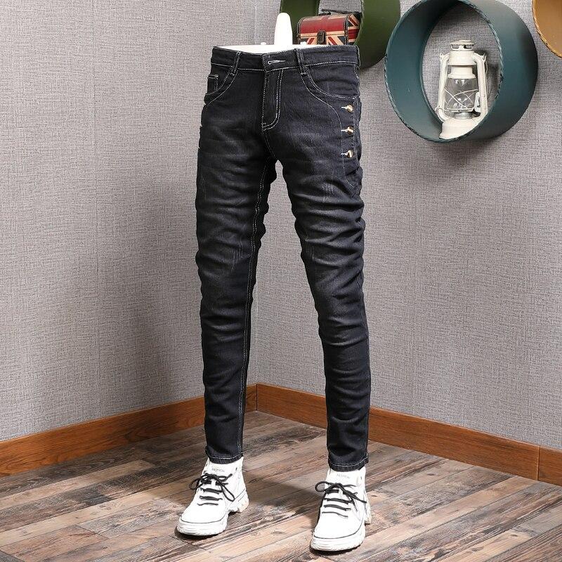 Модные мужские джинсы в Корейском стиле, Винтажные эластичные облегающие повседневные хлопковые джинсы, мужские дизайнерские Джинсовые бр...