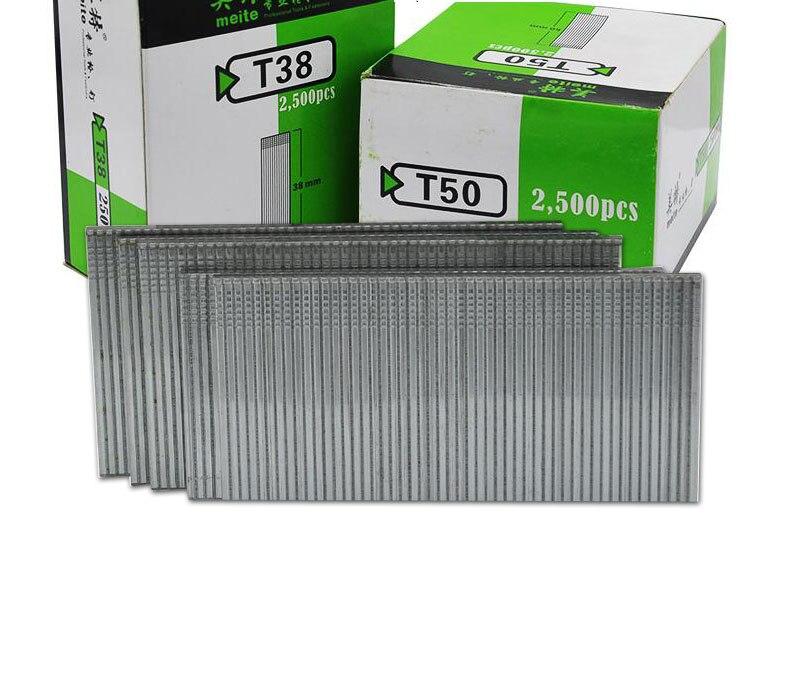 2500 pcs/T-recta tipo clavos para pistola de clavos de acero fila uñas clavos para cemento madera muebles de energía hidroeléctrica de renovación de hardware