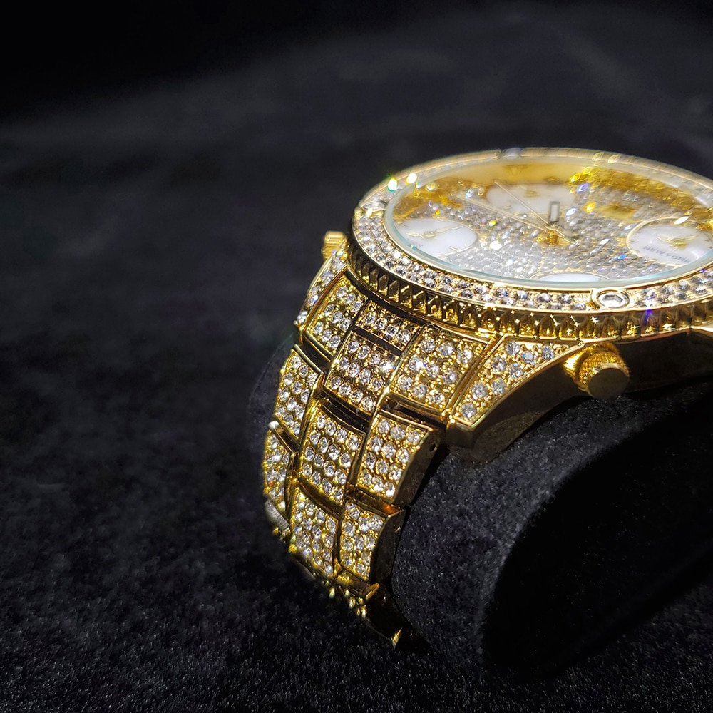 Hip Hop MISSFOX Iced Out Men Watches Multiple Time Zone Stainless Steel Diamond Brand Luxury Luminous Quartz Boss Wristwatches enlarge