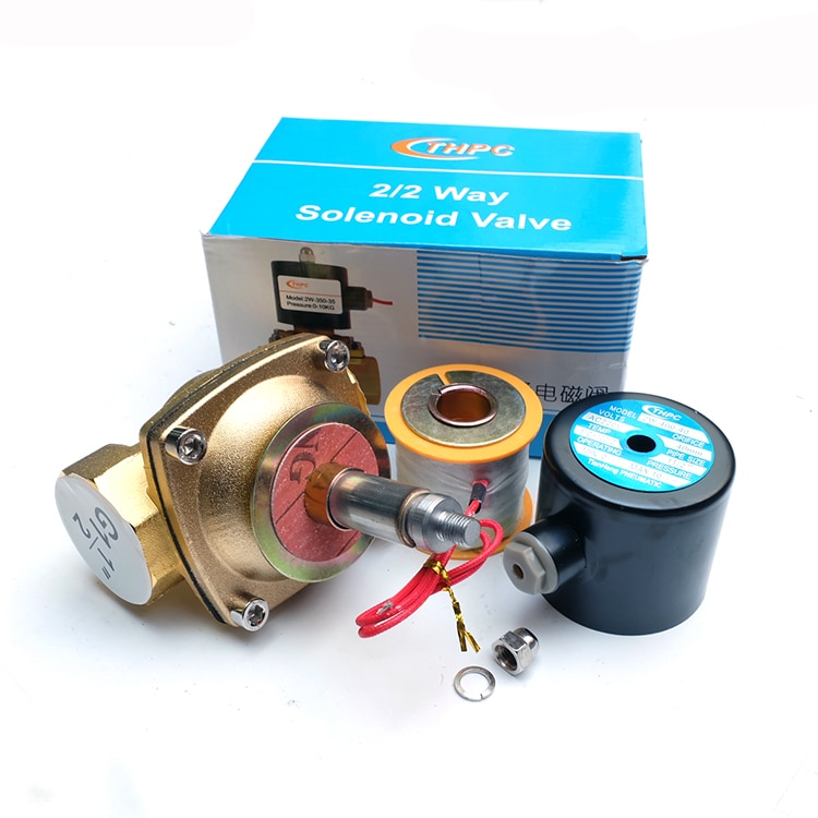 High quality Brass 2W-400-40 AC 220V Normal closed solenoid valve for air water oil enlarge