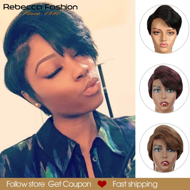 Perruque Lace Wig partielle péruvienne Remy lisse courte-Rebecca Pixie   Cheveux naturels, rouge ombré, perruque Lace Wig, pour femmes