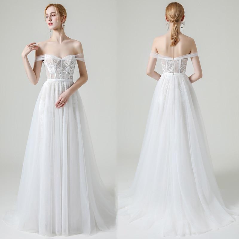 Modest Lace A Line Wedding Dress For Women 2021 robe de mariée Off The Shoulder Wedding Gowns Summer Open Back Bridal Dresses