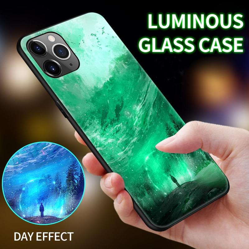Moonlight Girl Unicorn Luminous Glass Phone Case For iPhone 11 Pro Max SE XSmax XR XS X 8 7 6s 6 Plus Luxury Starry Sky Cover