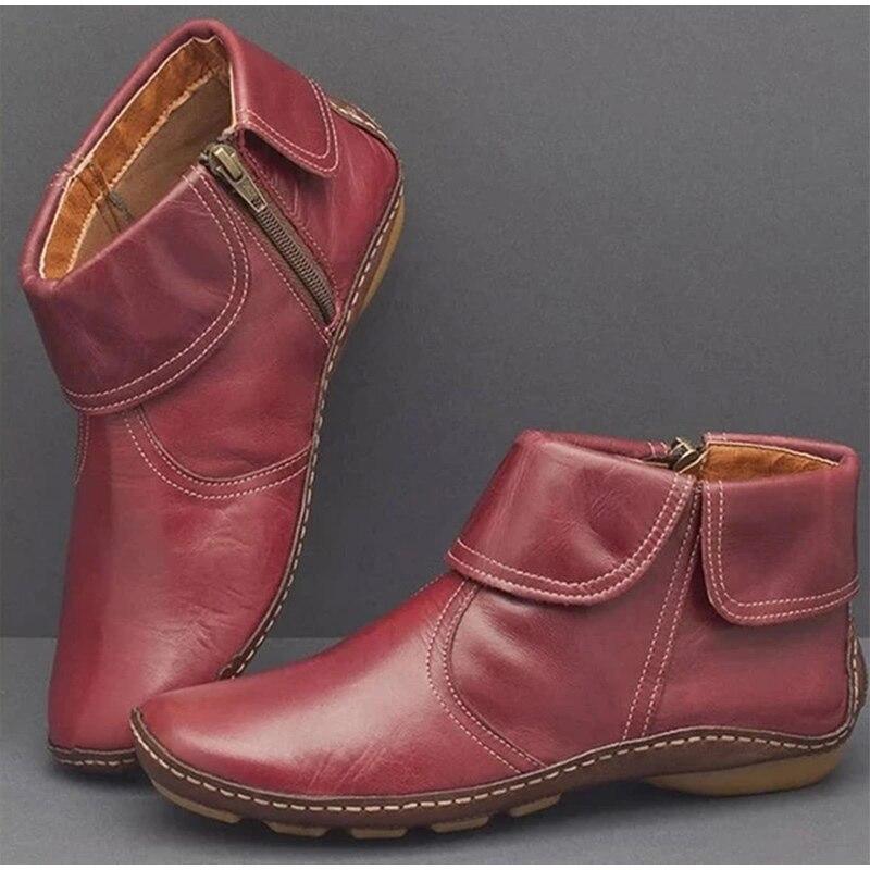 Botas al tobillo para mujer, botas con cremallera para mujer, cómodas y suaves zapatos de PU de otoño para mujer, zapatos informales de Costura a la moda para mujer de talla grande