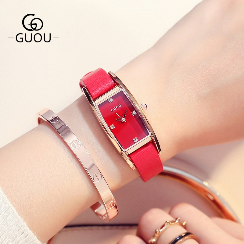 Fashion Genuine Leather Band Women Watches Dress Rectangular Quartz Wristwatch Rhinestone Scale Watch Women Luxury Reloj Mujer enlarge