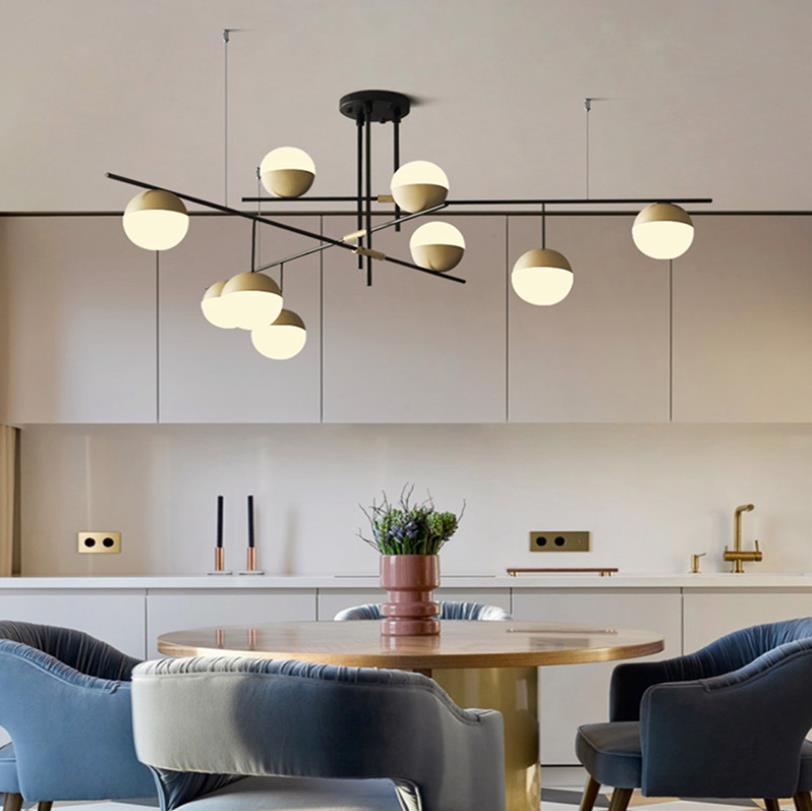 Estilo pós-moderno restaurante luz pingente arte design bolas de vidro galeria salão do hotel decoração luzes suspensão