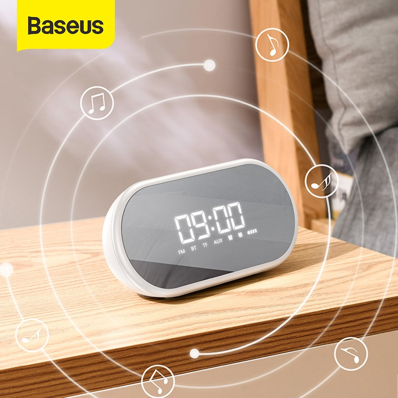 Ночной светильник Baseus, bluetooth-динамик с функцией будильника, портативный беспроводной громкий динамик, звуковая система для прикроватной тумбочки и офиса