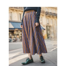 INMAN Autumn New Arrival Lyocell Cotton High Waist A-line Vintage Vertical Stripe Print Skirt