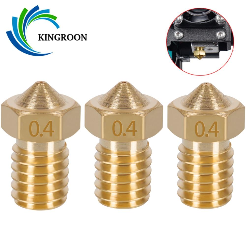 KINGROON 10pcs V5 V6 E3D זרבובית 0.2 0.3 0.4 0.5 0.6 0.8 1.0mm 3D מדפסת חלק M6 חוט כל מתכת זרבובית 1.75mm 3mm נימה