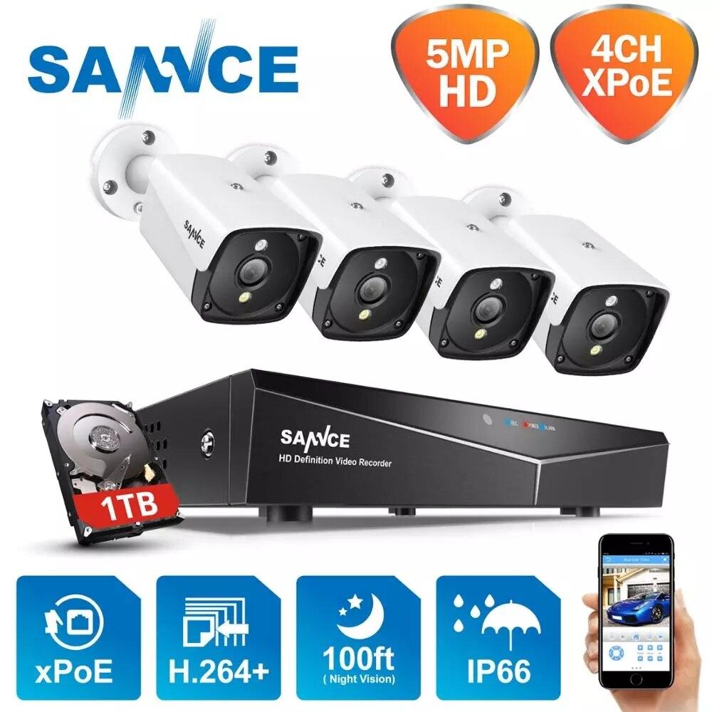 Система наружного видеонаблюдения SANNCE, H.264 +, 4 камеры 5 МП, POE, IP, 5 Мп, водонепроницаемая, комплект видеорегистратора