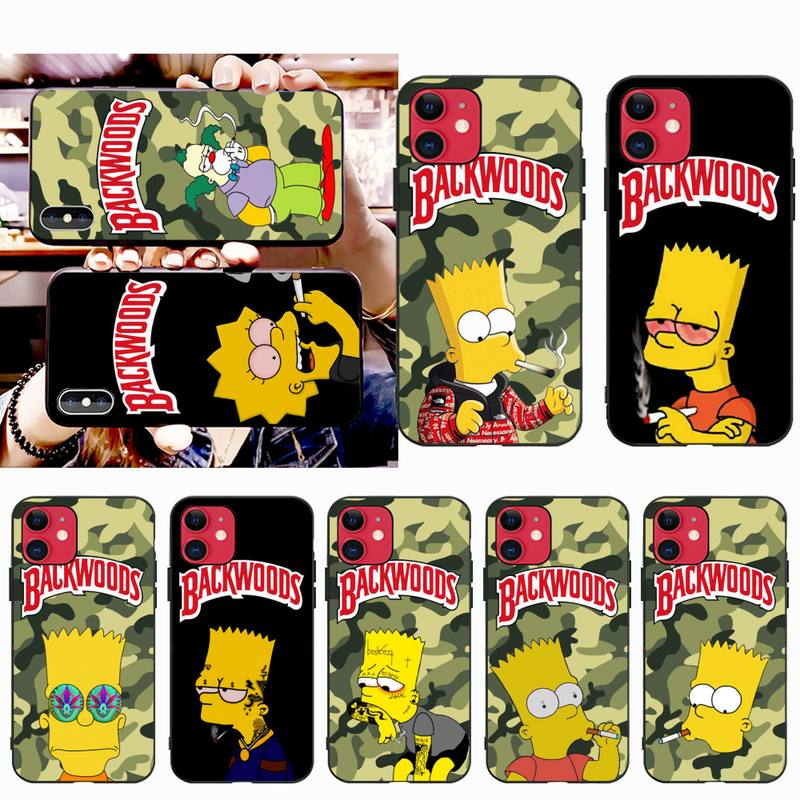 Simpson fumar Bosque Negro TPU suave cubierta de la caja del teléfono para iPhone 11 pro XS MAX 8 7 6 6S Plus X 5S SE 2020 XR caso