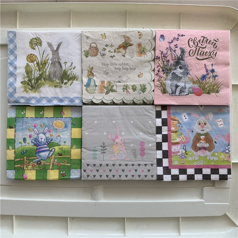 Servilletas bonitas, pañuelo elegante de papel, conejo, flores, artes para decoupage, boda, fiesta de cumpleaños, hermosa decoración, pañuelo, toalla