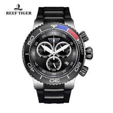 Reef Tiger/RT Luxury Sport Watches for Men Rubber Strap Steel Military Watches Waterproof Quartz Wat