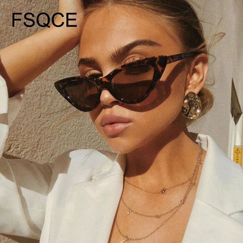 Luxury Sunglasses Cute Sexy Retro Cat Eye Sunglasses Women Small Black White Triangle Vintage Cheap