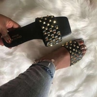 large size 35 43 slippers womens 2021 rivet flat check sandals