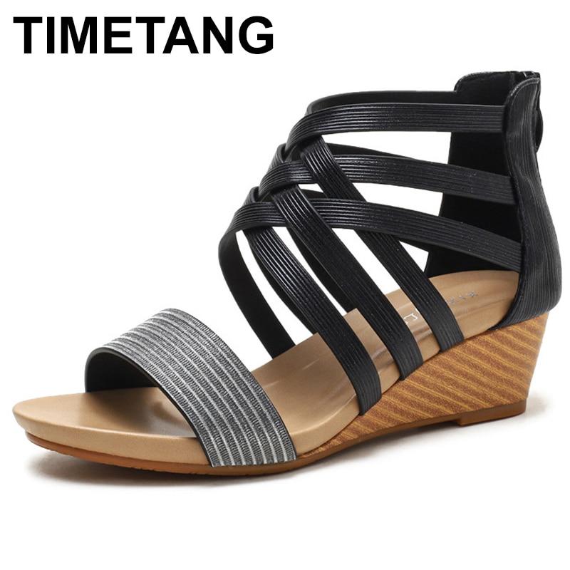 TIMETANG-صندل نسائي بكعب عالٍ بسحاب ، حذاء كاجوال مريح ، نمط المصارع ، 2020