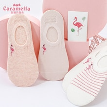 Caramella Socks Women's Ins Fashionable Socks Low-Cut Spring and Summer Thin Flamingo Embroidered Cu