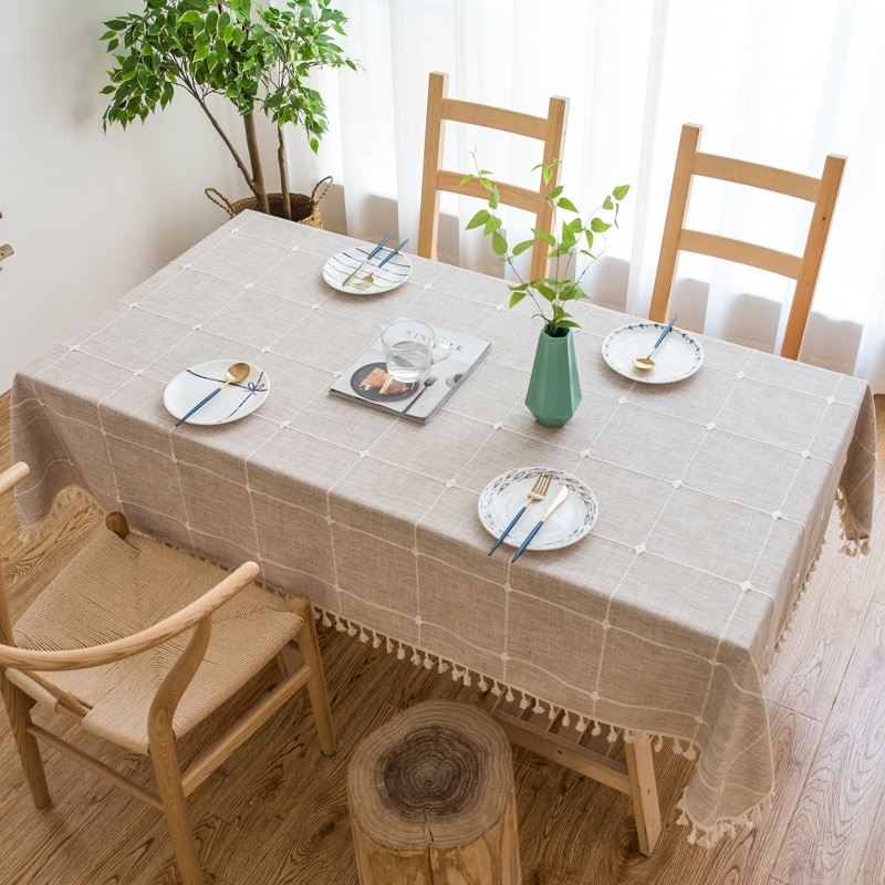 Geometric lattice Decorative Linen Tablecloth With Tassel Thicken Rectangular Wedding Dining Cover Tea Table Cloth