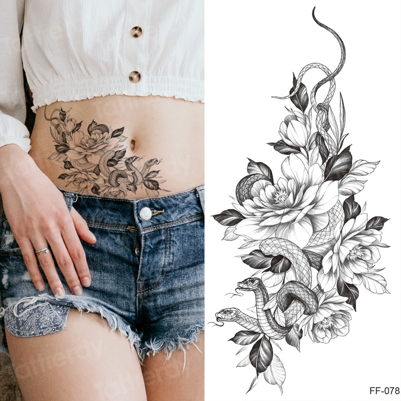 Tatuajes temporales a prueba de agua para mujeres rose peonías serpiente negro henna tatuaje falso sexy chicas pegatina para arte corporal brazo cintura manga