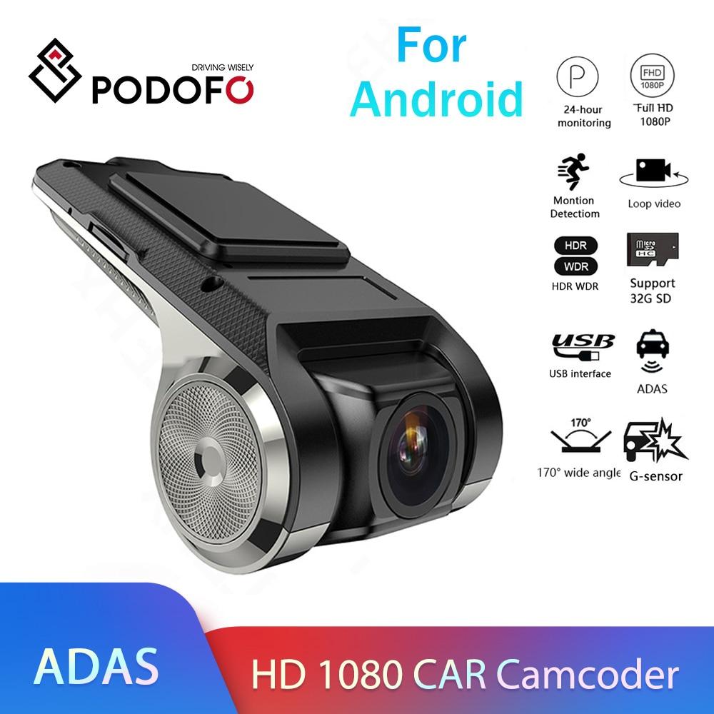 Podofo Dash Cam ADAS Car DVR ADAS Dashcam DVRs Video Night Version HD 720P Auto Recorder for Android Multimedia player DVD