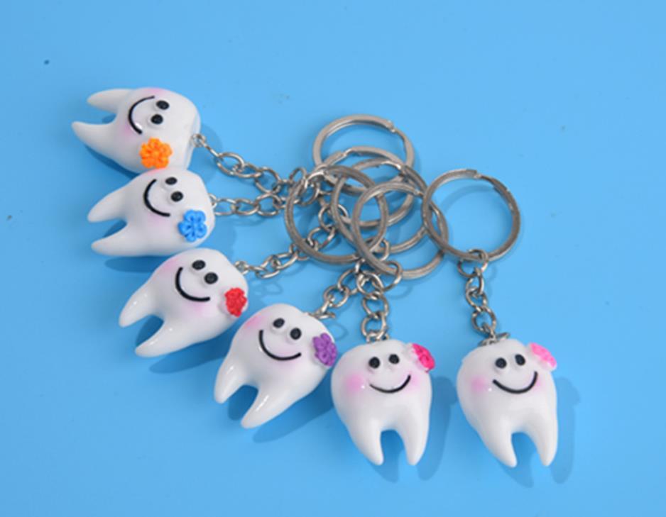 الأسنان محاكاة الأسنان قلادة المفاتيح جميل الكرتون الأسنان اكسسوارات الديكور الهدايا الترويجية