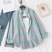 Camicia a quadri da donna Casual di marca 2021 autunno nuova Boutique camicetta allentata da donna e top camicette a maniche lunghe femminili abiti